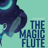 "Blue background with image of a woman with a flower in her hair and text saying ""The magic Flute"""