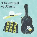 "On a pale blue background sit a guitar case, large suitcase and a sun hat. The title in the upper left hand corner reads ""The Sound of Music"""