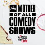 "A white background highlights a half eaten peanut-butter and jelly sanwhich, a red wine stain ring and cookie crumbs. The title reads ""The Mother of All Comedy Shows"" in black"