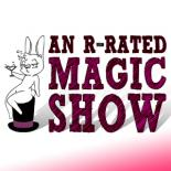 "A white rabbit sits atop a magician's hat holding a martini glass. To the right of him the title reads ""An R-Rated Magic Show"" in purple"