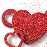 A white background highlights three red hearts of different sizes and designs