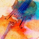 Cello with bright colors watercolor