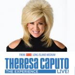 "Theresa Caputo stands at the top of the image with the title ""Theresa Caputo Live"" in blue at the bottom"