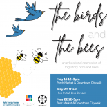 artwork showing two blue birds in the top left and two bees just below that with the words the birds and the bees in the top right