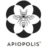 a logo of apioplis the center has a black and white bee with a black and white flower outlying it