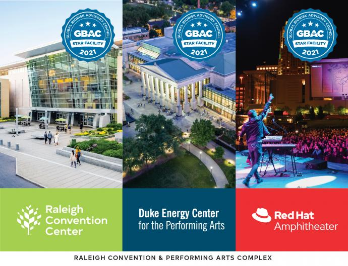 GBAC STAR accredited venues: Raleigh Convention Center, Duke Energy Center for the Performing Arts, and Red Hat Amphitheater