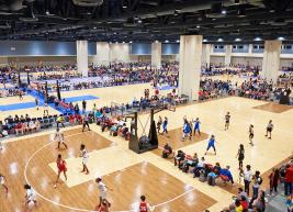 Expo hall converted into multi-basketball court facility