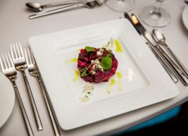 Timbale of Ahi Tuna Tartare, Roasted Beets, and Pickled Daikon