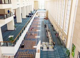 View from second floor looking down on hallways outside of expo halls