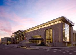 Exterior photo of the Convention Center during sunrise