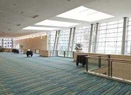 Spacious ballroom lobby with light from windows coming in
