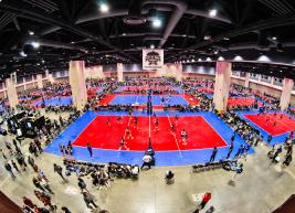 Expo hall converted into multi-volleyball court facility