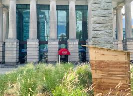 Beehive in the garden in front of the Performing Arts Center